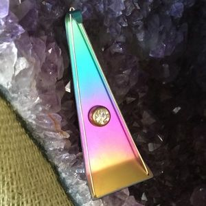 VTG  Niobium and Austrian Crystal geometric brooch